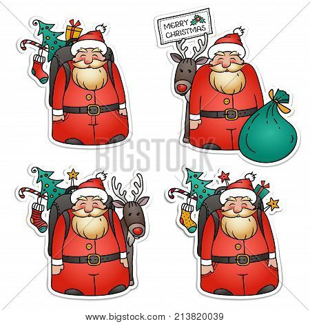 Set of Santa Claus stickers. Santa Claus with reindeer, packbag, Christmas tree and gifts. Holiday illustration for Christmas . Funny Santa Clause vector character. Isolated on white background
