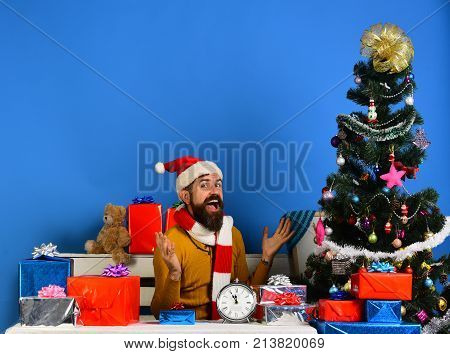 Man With Beard And Cheerful Face Gets Ready To Celebrate