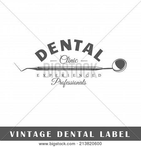 Dental label isolated on white background. Design element. Template for logo signage branding design. Vector illustration