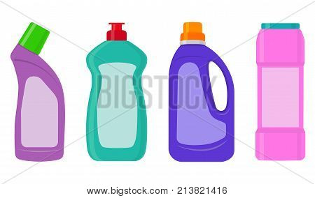The Bottles Of Detergent, Washing Powder, Detergent Powder, Bottle Of Spray, A Means For Washing Dis