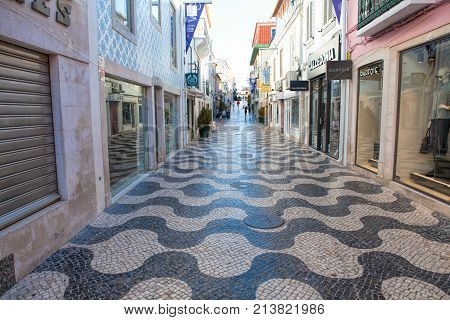 CASCAIS PORTUGAL - SEPTEMBER 24 . 2017 . Cascais street scene. Cascais is famous and popular summer vacation spot for Portuguese and foreign tourists