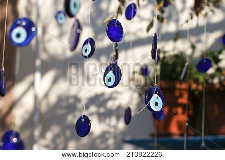 Set of evil eye bead as Amulet souvenir from Turkey. Nazar beats.