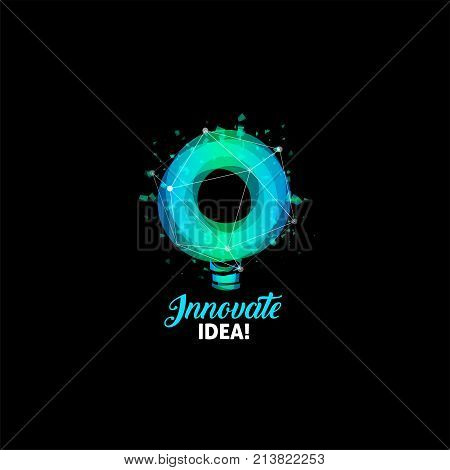 Innovate idea logo, light bulb abstract vector icon. Isolated blue and green color round shape, stylized lamp with text. Digital innovation technology vector illustration