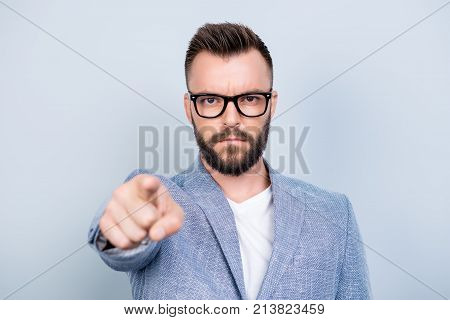 You! Strict Handsome Bearded Brunet Man Is Choosing You, Pointing At The Screen, Wearing Formal Outf