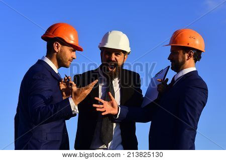 Architects Hold Clip Folder. Men With Beard And Astonished Faces