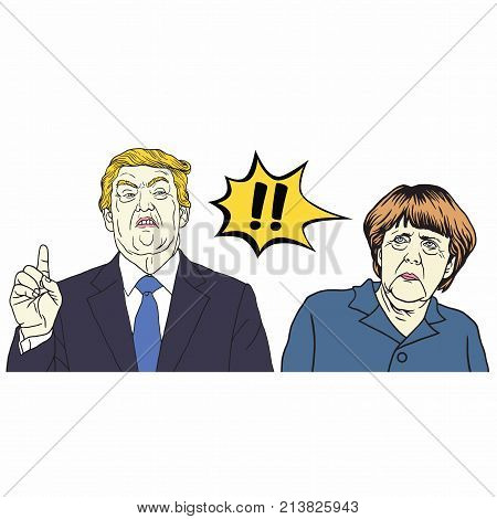 Donald Trump and Angela Merkel. Vector Cartoon Caricature Illustration. November 15, 2017