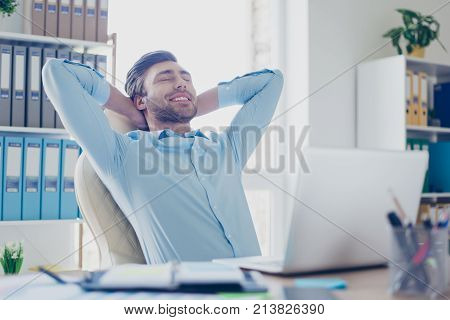 Concept Of Having Perfect And Lovable Work Or Having Break At Workstation. Cheerful And Delightful S