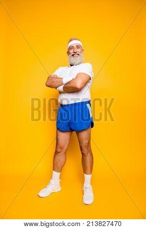 Full Length Of Mature Modern Cool Competetive Pensioner Grandpa, Leader, Champion. Bodycare, Healthc