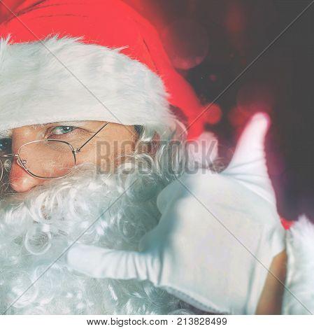 Portrait of cool Santa celebrating Cristmas at North Pole. New Year 2017