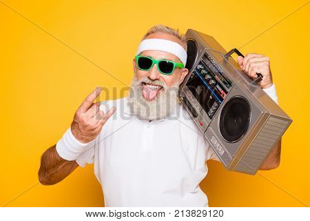 Cheerful Excited Aged Funny Active Sexy Athlete Cool Pensioner Grandpa In Eyewear With Bass Clipping