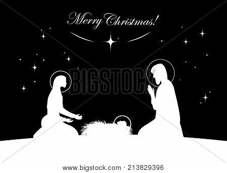 Vctor nativity scene. Mary with Jesus, and Joseph silhouette
