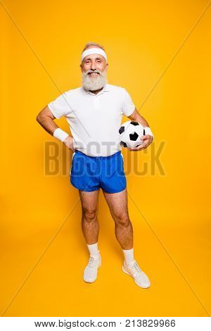 Full Length Of Modern Cool Funny Competetive Pensioner, Leader, Champion. Bodycare, Healthcare, Weig