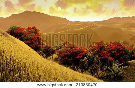 Green fields in Toscany - Italy 3d rendering