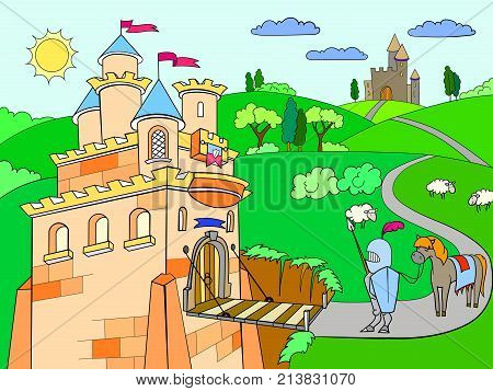Kids cartoon knightly castle vector. Knight, horse, armor, castle, fairy tale and nature