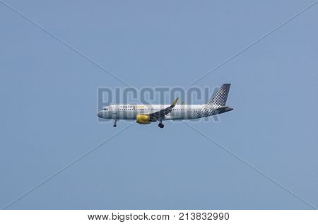 Nice France - August 14 2017 : AirBus A320 of vueling.com airline landing at Nice Airport