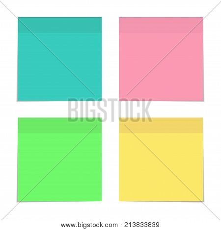 Four Sticky Notes Various Colors, Set. Color Sheets Of Note Papers. Vector Illustration.