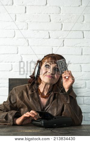 Granny Dj In Headset With Cassette Player.