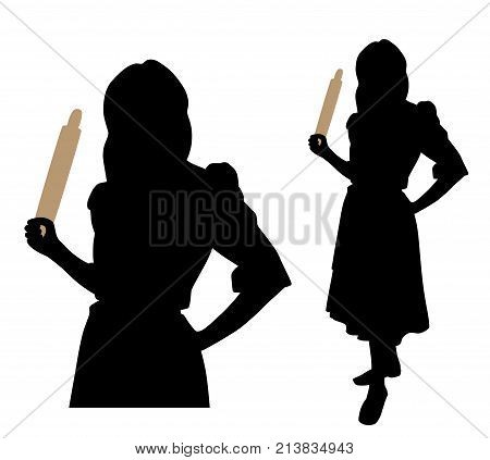 Angry woman with a rolling pin. Isolated white background. EPS file available.