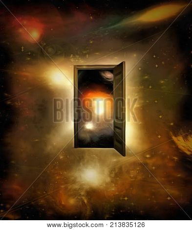 3D rendering. Surrealism. Door to another dimension in the space.