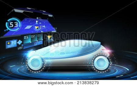 transport, navigation and future technology concept - futuristic concept car with gps navigator projection over black background