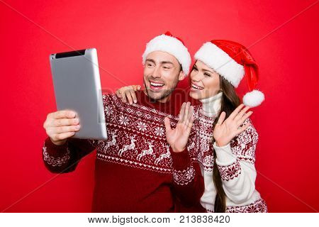 Hey! X Mas Video Call, Roaming, Holy Magic, Winter, December, Connection, Noel Concept. Cheerful Hus