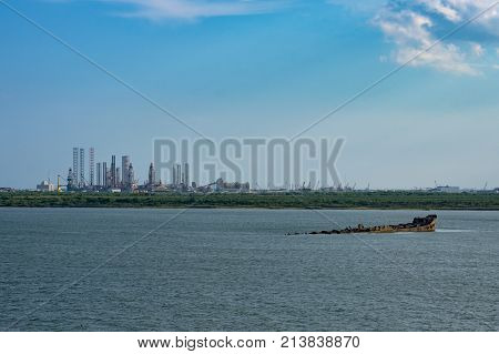 Galveston, TX. View from sea at day time