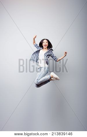 I Did It! Dreams Come True! Concept Of Freedom, Happiness And Life Without Problems. Vertical Full L