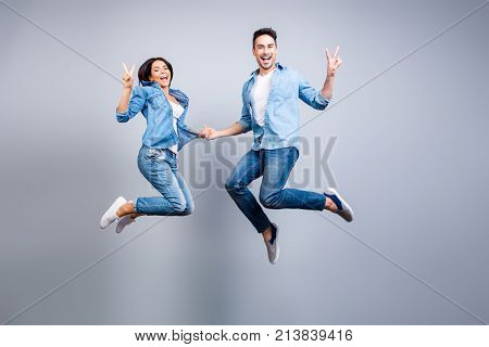 Concept Of Freedom, Carelessness, Good Mood And Enjoying Life. Totally Glad And Happy Lovers In Jean