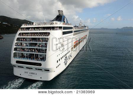 Cruise Ship  Departing Caribbean Island