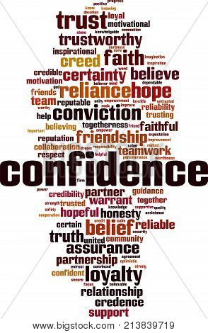Confidence word cloud concept. Vector illustration on white