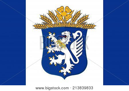 Flag of Leer is a district in Lower Saxony Germany. Vector illustration