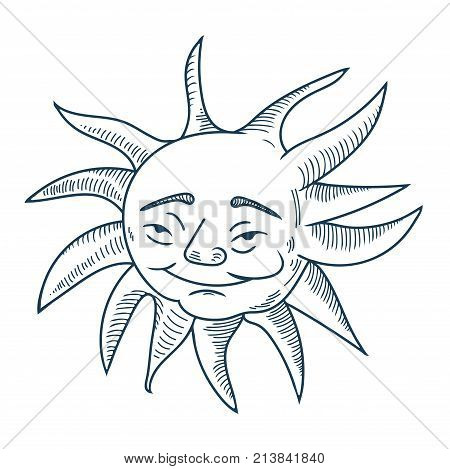 Vector Illustration for Mardi Gras, also calle Fat, Shrove or Pancake Tuesday: doodle sketchy hand drawn sun face. Happy Sun mascot or character isolated.