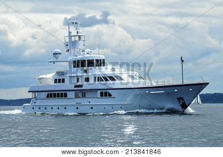 Motor Yacht Ice Bear underway on Puget Sound Washington