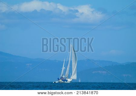 Sailboats underway in the San Juan Islands WA