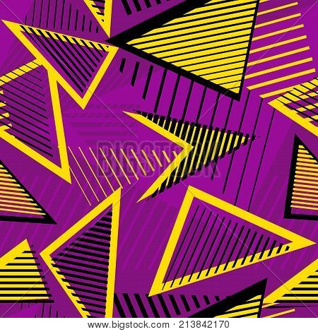 Urban art sport abstract vector seamless pattern, geometric elements, chaotic lines, triangles, stripes. Colorful repeat background for boys and girls. Bright purple, yellow, black colors. Sport pattern. Urban pattern. Geometric pattern. Art pattern