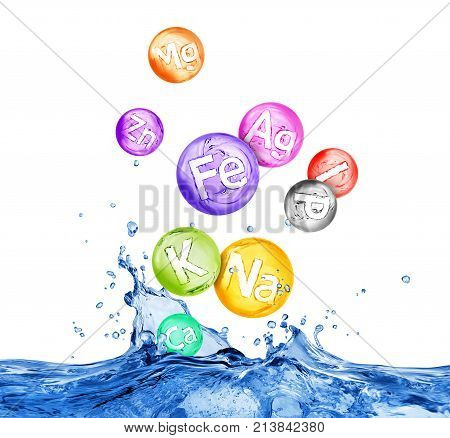Group of chemical minerals and microelements in water splashes