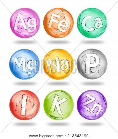 Group of chemical minerals and microelements in the form of spheres made of water. 3d illustration