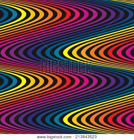 Vector wavy seamless pattern, curved lines striped background in rainbow colors on black. Abstract dynamic rippled texture, illusion of movement, bright fluid curvature. Trendy retro fashion design. Lines pattern. Rainbow pattern. Wavy pattern.
