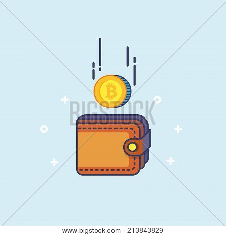 Bitcoin and the wallet. Coin drops in purse. Most valuable cryptocurrency with huge market capitalization. Mining concept