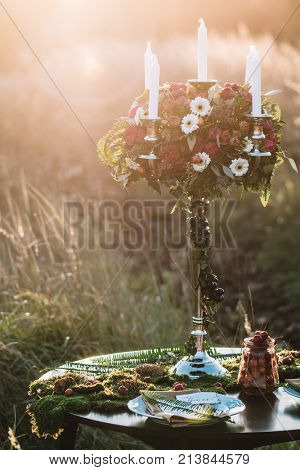 Wedding decoration, beautiful flower arangement for wedding
