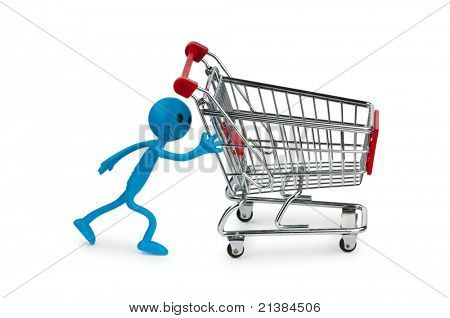 Shopping cart and smiley on white