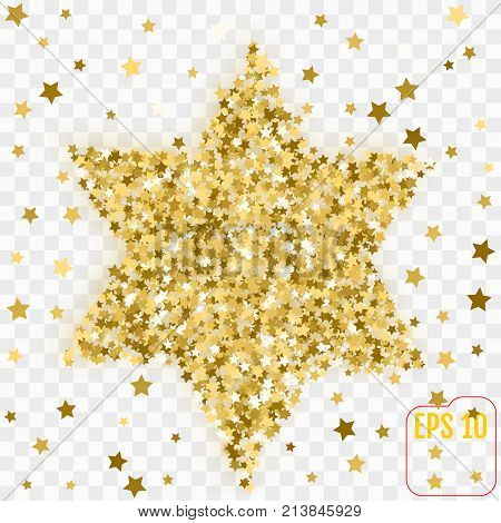 Golden Image Of The Star Of David. Gold Confetti Concept. Vector