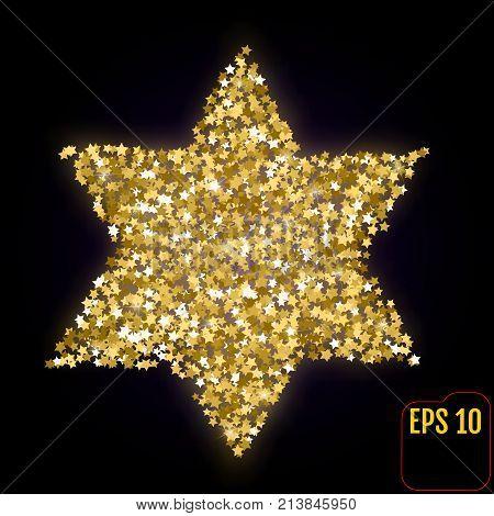 Golden Star Of David Isolated On Black.  Gold Stars Confetti Con