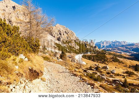 December 2015 Siusi Alp in Italy This is the path to reach the Siusi Alp Gondola in the north of Italy to go down in the valley.