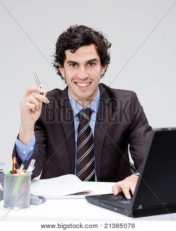 caucasian businessman working at his office