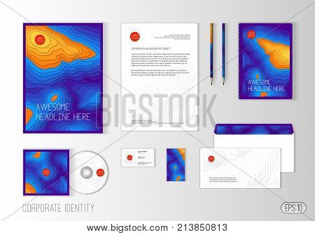 Corporate identity template for landscape design company or travel agency. Stationery template design for real estate or travel business. Brochure cover, letterhead, envelope, business card, CD cover.
