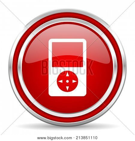Multimedia player red silver metallic chrome border web and mobile phone icon on white background with shadow