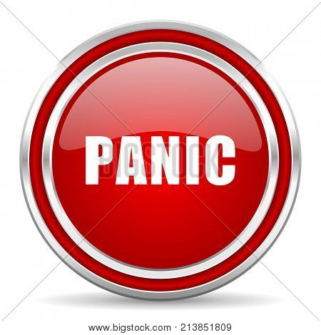Panic red silver metallic chrome border web and mobile phone icon on white background with shadow