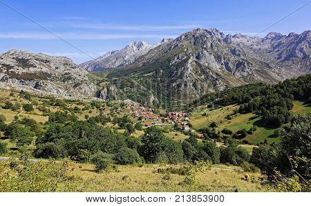 Sotres From Invernales De La Caballa, Picos De Europa, Asturian Municipality Of Cabrales, Spain