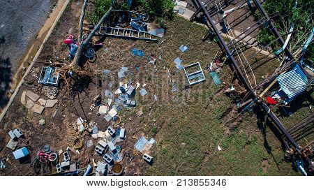 Straight Down Angle Above Damage And Destruction Of Major Hurricane Path After Flooding And Hurrican
